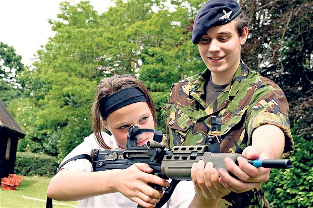 "David Cameron, who attended the Combined Cadet Force at Eton, has set a target of creating 100 new units in state schools by September in order to build ""character, grit and determination"" in teenagers, thereby improving their exam results."