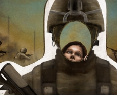 Military recruitment efforts, whether societal or sponsored directly by the US military, reach children as young as preschool, priming them to think of war and soldiering as cool and exciting, without any discussion of the trauma and death they bring. (Image: Jared Rodriguez / Truthout)