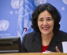 Leila Zerrougui, Special Representative of the Secretary-General for Children and Armed Conflict, speaks at a press conference concerning the upcoming annual treaty event, held 24-26 September, which will focus on the rights of the child.