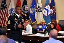 Command Sgt. Maj. Willie Clemmons, U.S. Army Recruiting Command, talks about the Army core values as he addresses National Association of Secondary School Principals and U.S. Army Leadership and Professional Development Symposium participants Nov. 13 at the Lewis and Clark Center. Photo by Prudence Siebert/Fort Leavenworth Lamp
